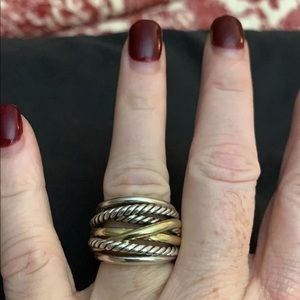 David Yurman crossover ring with gold size 7